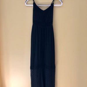 Black lace maxi dress with adjustable straps